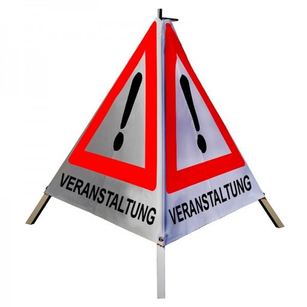 """Warnpyramide/ Faltsignal Achtung(VZ101) """"VERANSTALTUNG"""" 70cm - retro-reflektierend"""