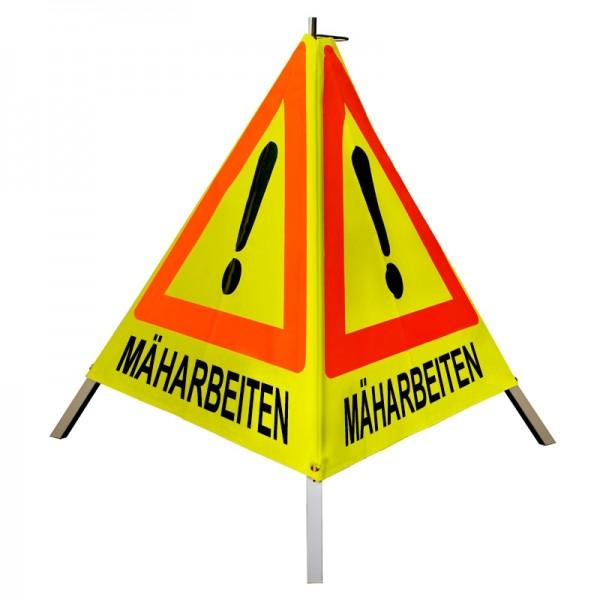 """Warnpyramide/ Faltsignal Achtung(VZ101) """"MÄHARBEITEN"""" 70cm - gelb tagesleuchtend"""