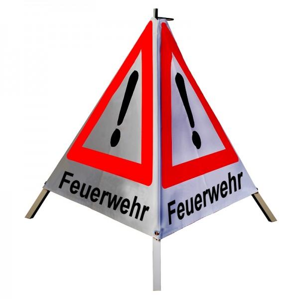 """Warnpyramide/ Faltsignal Achtung(VZ101) """"Feuerwehr"""" 90cm - retroreflektierend"""