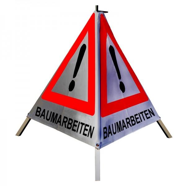 """Warnpyramide/ Faltsignal Achtung(VZ101) """"BAUMARBEITEN"""" 90cm - retro-reflektierend"""