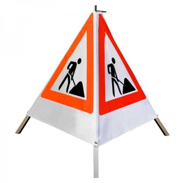 Warnpyramide/ Faltsignal Schaufelmann(VZ123) 70cm - weiß tagesleuchtend, ohne Aufschrift
