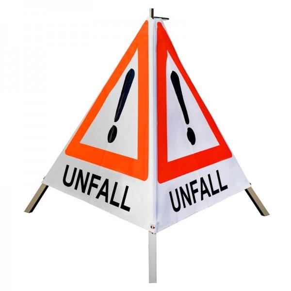 "Warnpyramide/ Faltsignal Achtung(VZ101) ""UNFALL"" 70cm - weiß tagesleuchtend"