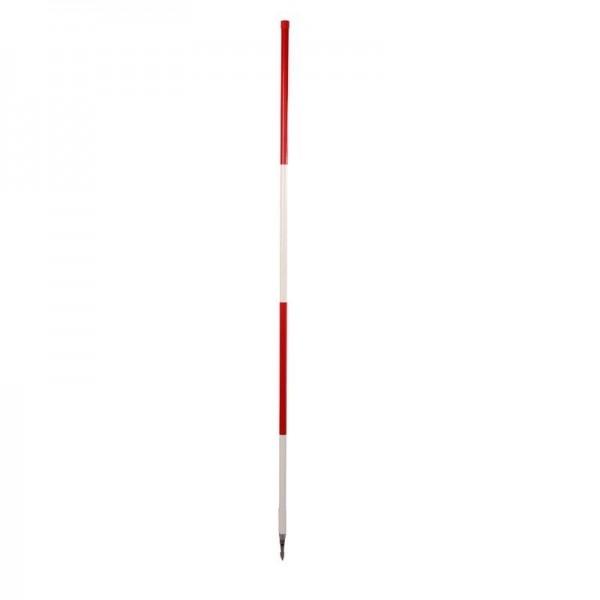 Holz-Fluchtstab (Bau-Qualität) mit Dreikantrohrspitze, rot/weiß