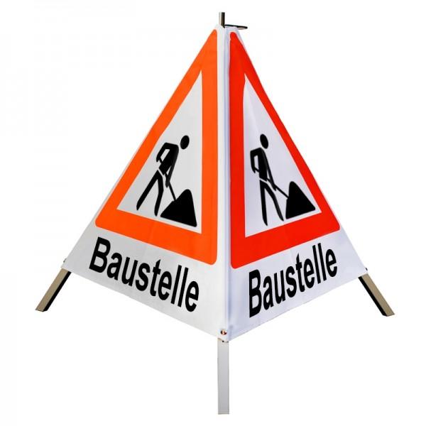 """Warnpyramide/ Faltsignal Schaufelmann(VZ123) """"Baustelle"""" 90cm - weiß tagesleuchtend"""