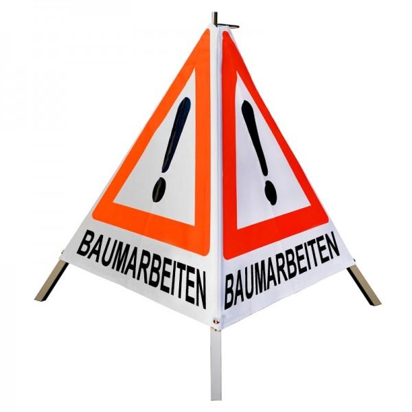 """Warnpyramide/ Faltsignal Achtung(VZ101) """"BAUMARBEITEN"""" 70cm - weiß tagesleuchtend"""