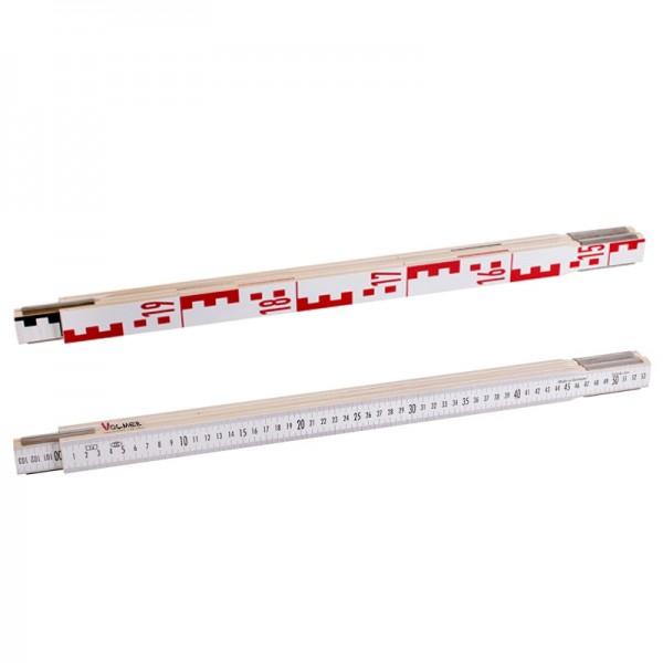 Nivellierzollstock 2 m (Geometer-Maßstab), Transportlänge 57,5 cm – E-Teilung / mm-Teilung