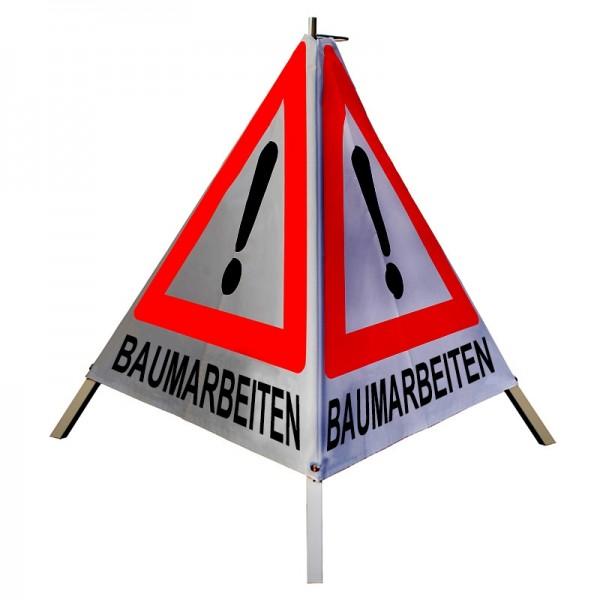 """Warnpyramide/ Faltsignal Achtung(VZ101) """"BAUMARBEITEN"""" 70cm - retro-reflektierend"""