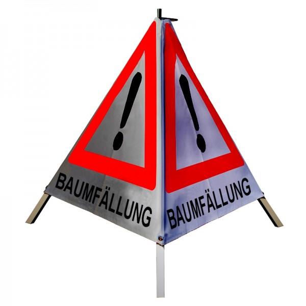 "Warnpyramide/ Faltsignal Achtung(VZ101) ""BAUMFÄLLUNG"" 90cm - retro-reflektierend"