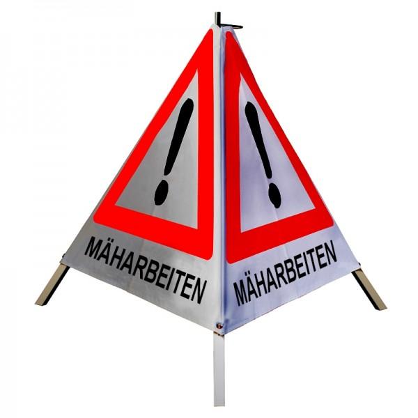 """Warnpyramide/ Faltsignal Achtung(VZ101) """"MÄHARBEITEN"""" 70cm - retro-reflektierend"""