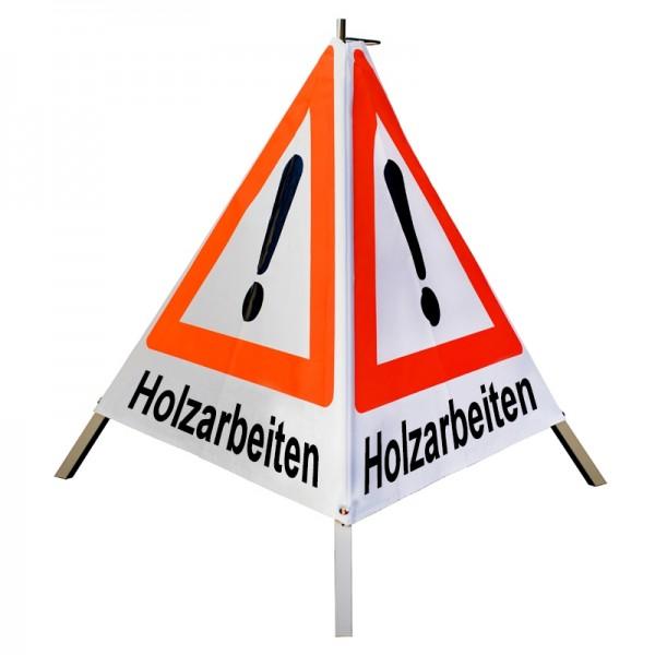 """Warnpyramide/ Faltsignal Achtung(VZ101) """"Holzarbeiten"""" 70cm - weiß tagesleuchtend"""
