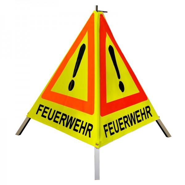 """Warnpyramide/ Faltsignal Achtung(VZ101) """"FEUERWEHR"""" 70cm - gelb tagesleuchtend"""
