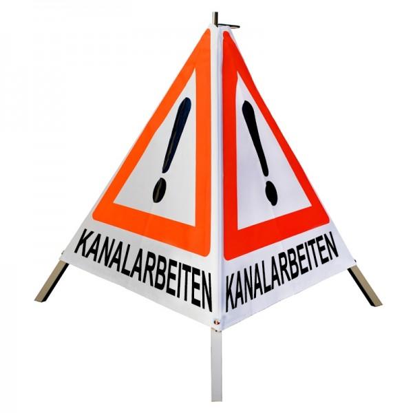 """Warnpyramide/ Faltsignal Achtung(VZ101) """"KANALARBEITEN"""" 70cm - weiß tagesleuchtend"""