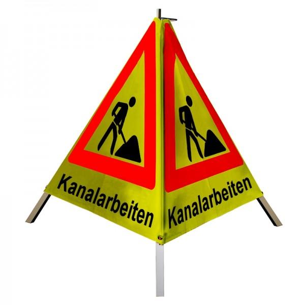 """Warnpyramide/ Faltsignal Schaufelmann(VZ123) """"Kanalarbeiten"""" 90cm - gelb retro-reflektierend"""