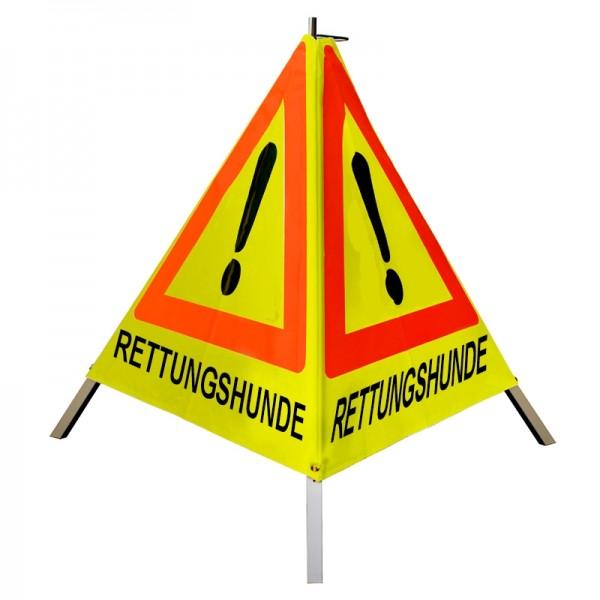 "Warnpyramide/ Faltsignal Achtung (VZ101) ""RETTUNGSHUNDE"" 90cm - gelb tagesleuchtend - schwer m Feder"