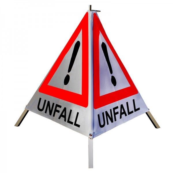"""Warnpyramide/ Faltsignal Achtung(VZ101) """"UNFALL"""" 90cm - retro-reflektierend"""
