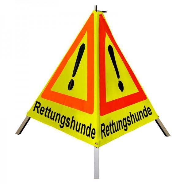 "Warnpyramide/ Faltsignal Achtung(VZ101) ""Rettungshunde"" 70cm - gelb tagesleuchtend"