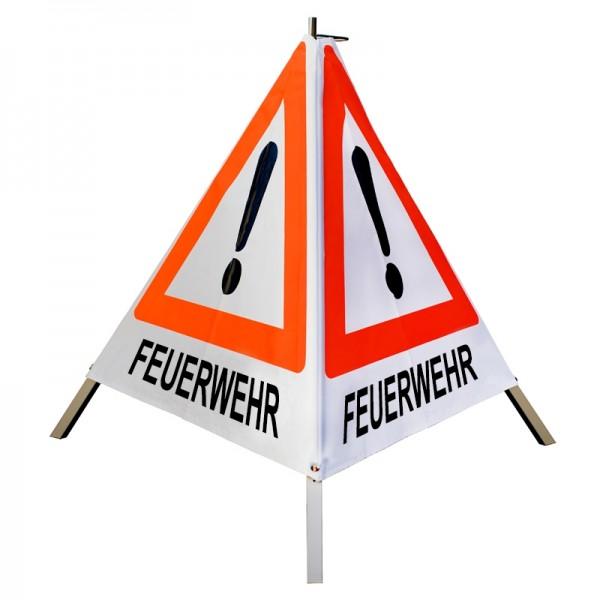 """Warnpyramide/ Faltsignal Achtung(VZ101) """"FEUERWEHR"""" 70cm - weiß tagesleuchtend"""