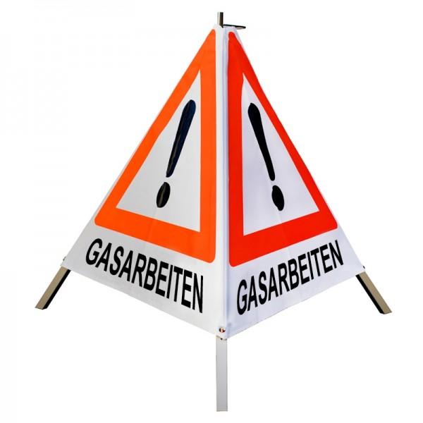 """Warnpyramide/ Faltsignal Achtung(VZ101) """"GASARBEITEN"""" 70cm - weiß tagesleuchtend"""