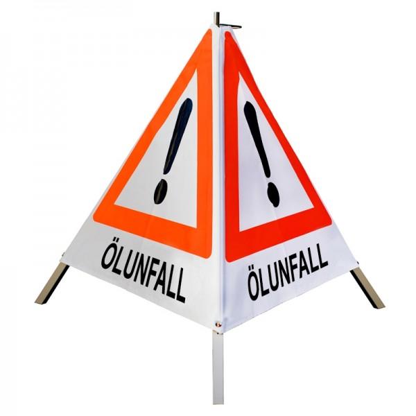 "Warnpyramide/ Faltsignal Achtung(VZ101) ""ÖLUNFALL"" 70cm - weiß tagesleuchtend"