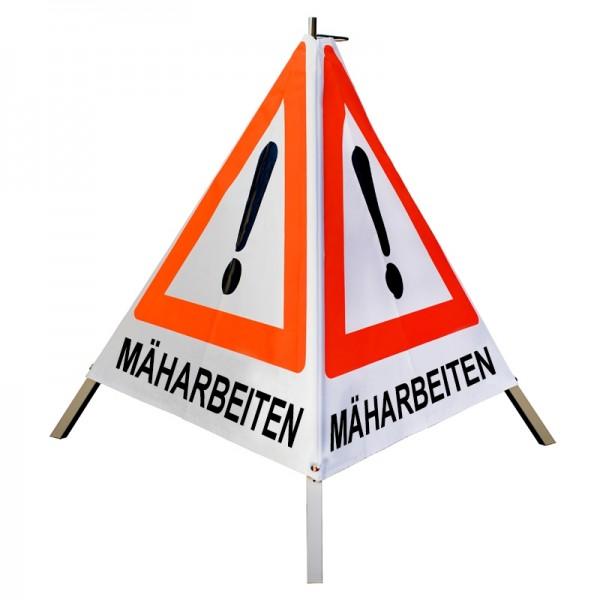 """Warnpyramide/ Faltsignal Achtung(VZ101) """"MÄHARBEITEN"""" 90cm - weiß tagesleuchtend"""