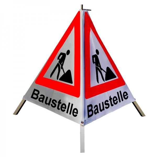 """Warnpyramide/ Faltsignal Schaufelmann(VZ123) """"Baustelle"""" 90cm - weiß retro-reflektierend"""