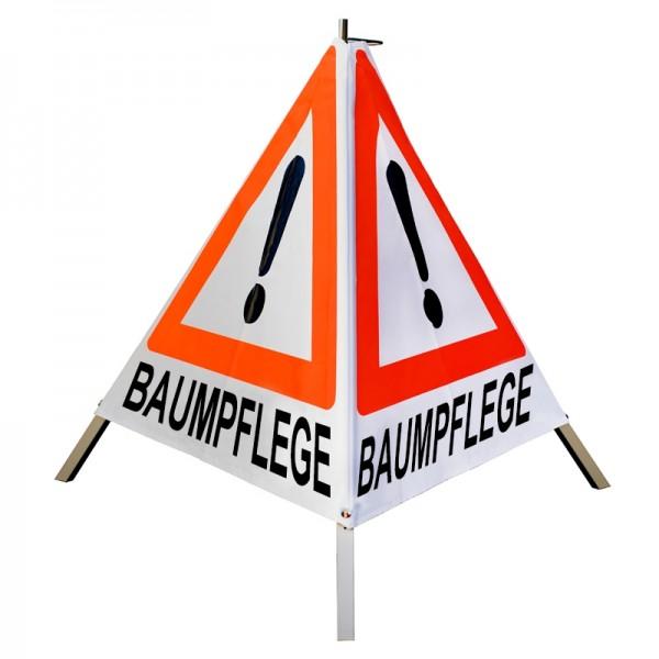 Warnpyramide 70 cm, leicht mit Mittelfuß, tagesleuchtend weiß, BAUMPFLEGE (Ausrufezeichen-VZ101)