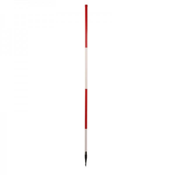 Holz-Fluchtstab - leicht -mit Dreilaschenspitze 3-kant - rot/weiß oder weiß/rot