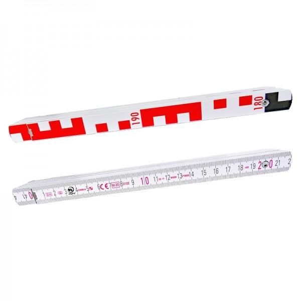 Nivellierzollstock 2 m (Geometer-Maßstab), Transportlänge 24,0 cm, E-Teilung / mm-Teilung