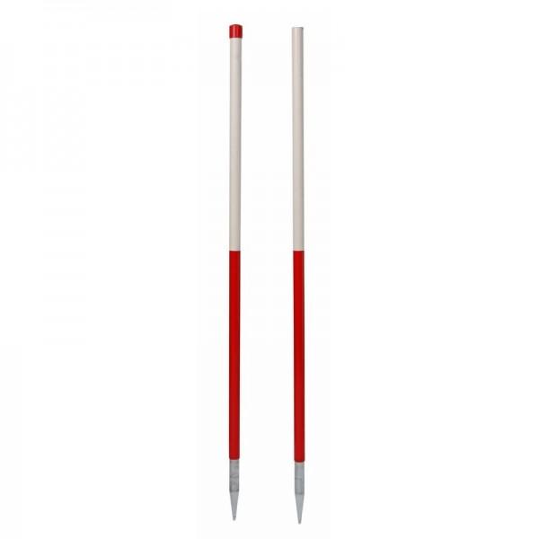 Stahlrohr-Fluchtstab - 2,16 m - zerlegbar, mit 2 Spitzen, PVC Mantel - rot/weiß oder weiß/rot