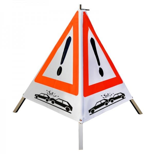 "Warnpyramide/ Faltsignal Achtung(VZ101) ""Crash-Symbol"" 70cm - weiß tagesleuchtend"