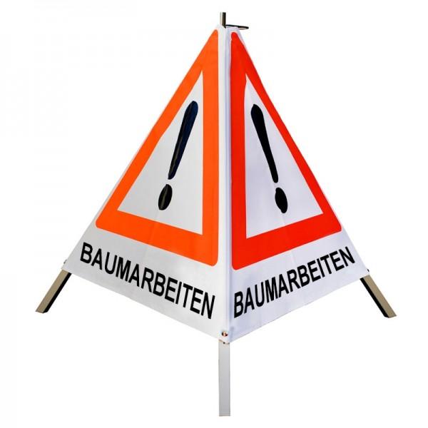 """Warnpyramide/ Faltsignal Achtung(VZ101) """"BAUMARBEITEN"""" 90cm - weiß tagesleuchtend"""