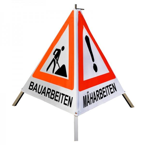 """Warnpyramide/ Faltsignal VZ101 & VZ123 """"MÄH-/ BAUM-/ BAUARBEITEN"""" 90cm - weiß tagesleuchtend"""