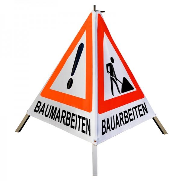 """Warnpyramide/ Faltsignal VZ101 & VZ123 """"MÄH-/ BAUM-/ BAUARBEITEN"""" 70cm - weiß tagesleuchtend"""