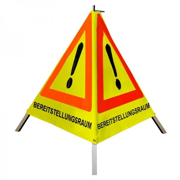 """Warnpyramide/ Faltsignal Achtung(VZ101) """"BEREITSTELLUNGSRAUM """" 90cm - gelb tagesleuchtend"""