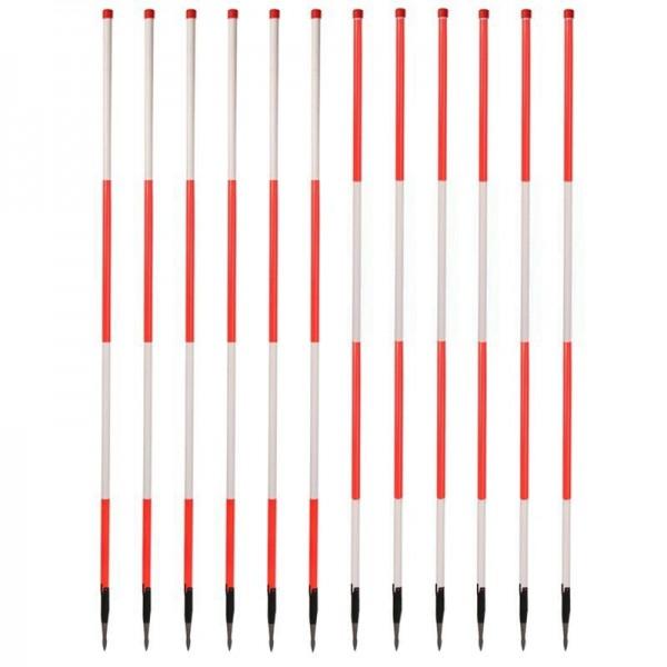 Holz-Fluchtstäbe - leuchtrot - Dreilaschenspitze 3-kant - 2.16m (12 Stück) - rot/weiß und weiß/rot