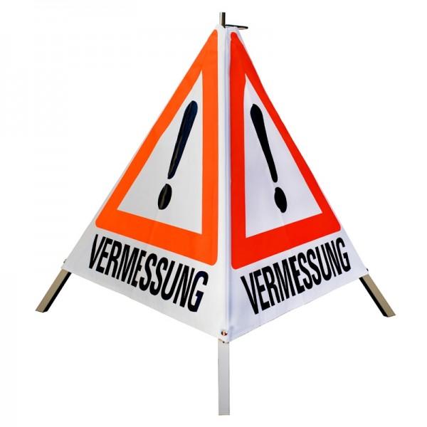 """Warnpyramide/ Faltsignal Achtung(VZ101) """"VERMESSUNG"""" 90cm - weiß tagesleuchtend"""