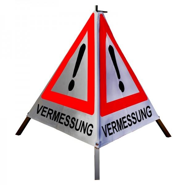 """Warnpyramide/ Faltsignal Achtung(VZ101) """"VERMESSUNG"""" 70cm - retro-reflektierend"""