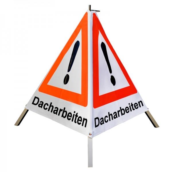 """Warnpyramide/ Faltsignal Achtung(VZ101) """"Dacharbeiten"""" 90cm - weiß tagesleuchtend"""