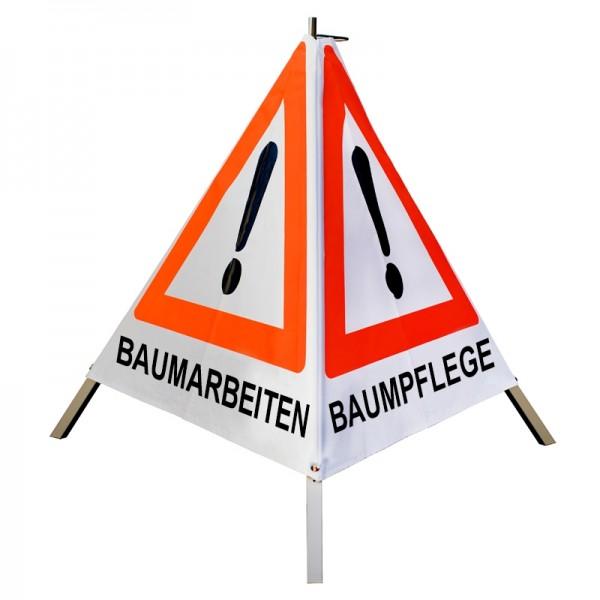 "Warnpyramide/ Faltsignal Achtung(VZ101) ""BAUMARBEITEN/ BAUMPFLEGE/ BAUMFÄLLUNG"" 90cm-weiß tagesl."