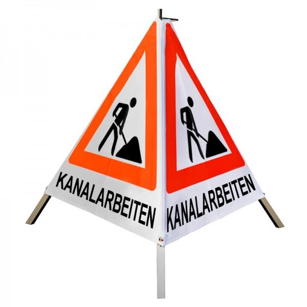 """Warnpyramide/ Faltsignal Schaufelmann(VZ123) """"KANALARBEITEN"""" 90cm schwer mit Feder - weiß tagesl."""