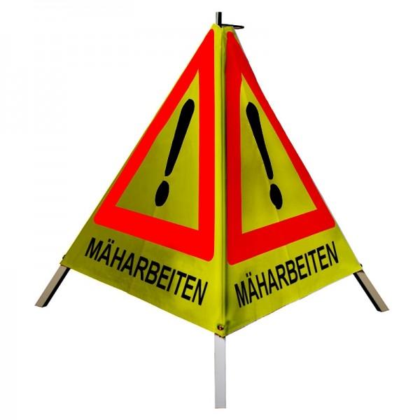 """Warnpyramide/ Faltsignal Achtung(VZ101) """"MÄHARBEITEN"""" 70cm - gelb retro-reflektierend"""