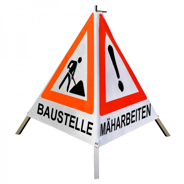 Warnpyramide/ Faltsignal BAUMFÄLLUNG, MÄHARBEITEN(VZ101), BAUSTELLE(VZ123) 70cm - weiß tagesl leicht
