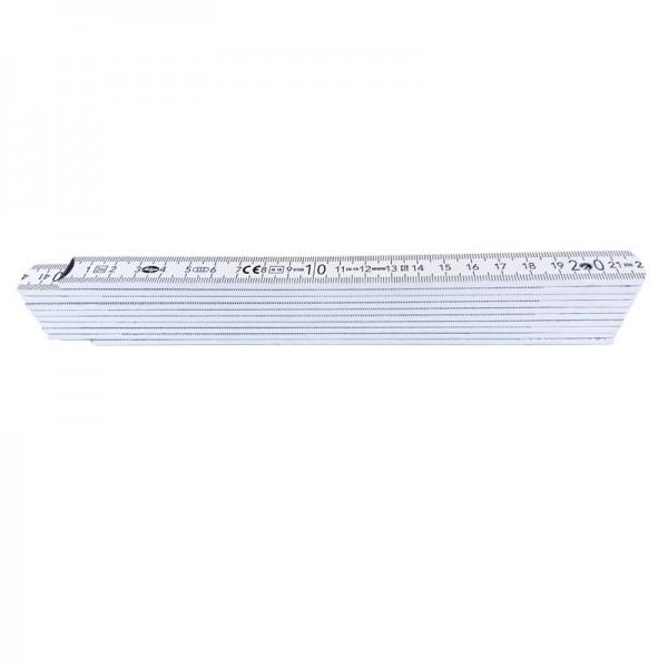 Holzgliedermaßstab 2 m (Zollstock), weiß, TOP-Qualität, innenliegende Federn