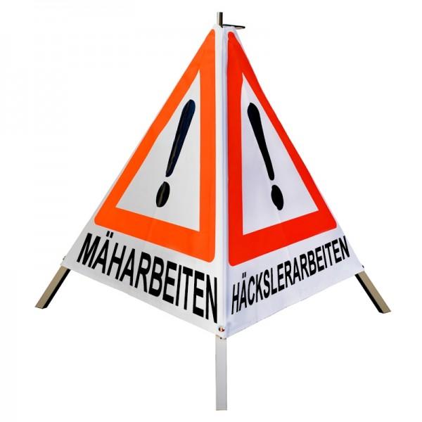 Warnpyramide 90 cm, schwer mit Feder, weiß, MÄHARBEITEN/ HÄCKSLERARBEITEN/ BAUMFÄLLUNG (VZ101)