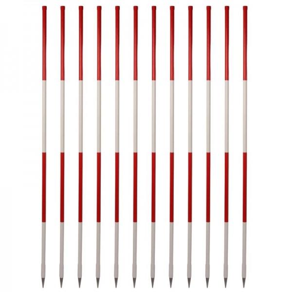 Holz-Fluchtstäbe rot/weiß (12 Stück) - Bau-Qualität, leicht, 2m, runde Stahlspitze, PVC Mantel