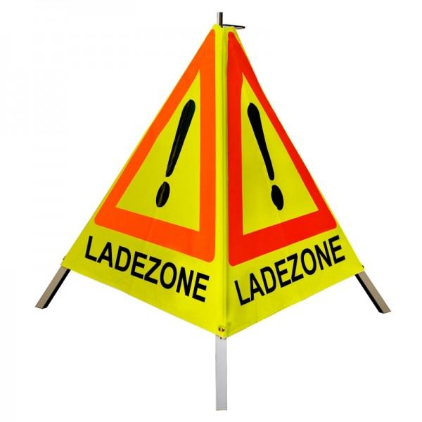 """Warnpyramide/ Faltsignal Achtung(VZ101) """"LADEZONE"""" 90cm - gelb tagesleuchtend - leicht mit Mittelfuß"""