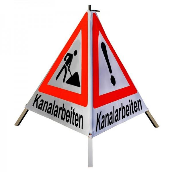 Warnpyramide/ Faltsignal 1x Kanalarbeiten(VZ101) 2x Kanalarbeiten(VZ123) 90 cm, leicht retro-refl