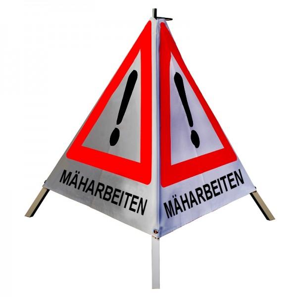 """Warnpyramide/ Faltsignal Achtung(VZ101) """"MÄHARBEITEN"""" 90cm - retro-reflektierend"""
