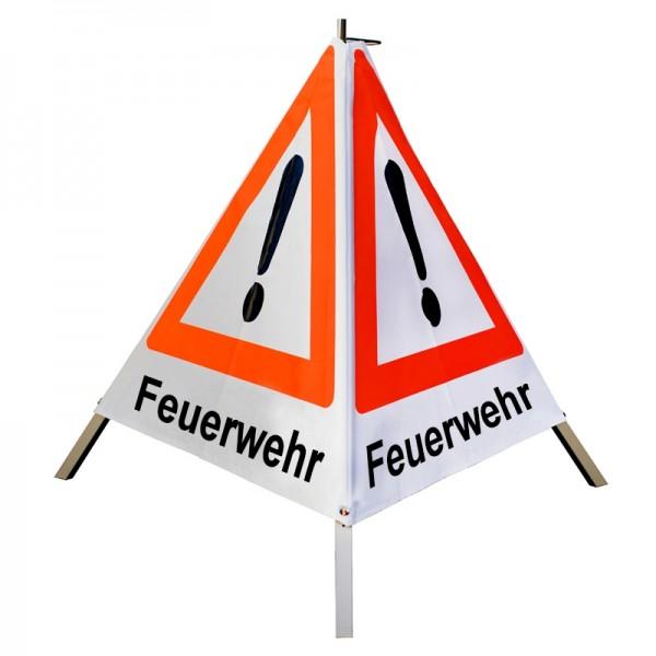 """Warnpyramide/ Faltsignal Achtung(VZ101) """"Feuerwehr"""" 90cm - weiß tagesleuchtend"""