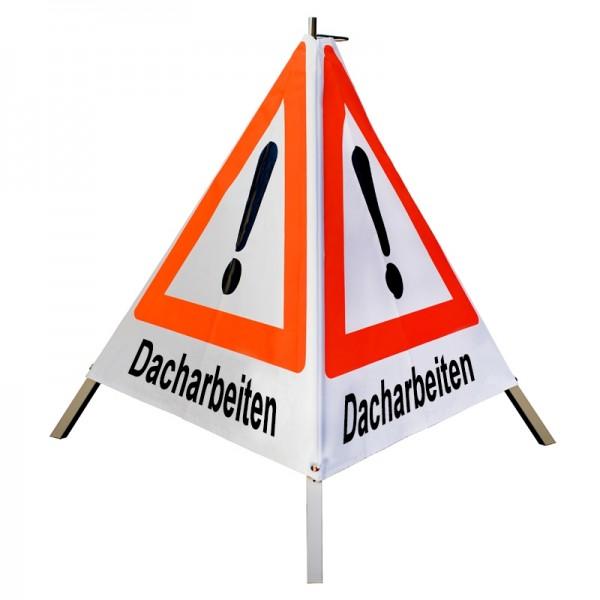 """Warnpyramide/ Faltsignal Achtung(VZ101) """"Dacharbeiten"""" 70cm - weiß tagesleuchtend"""